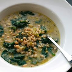 Soup: Hearty White Bean and Spinach Soup with Rosemary and Garlic