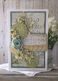 A card using the new Tim Holtz 3 D Impresslits A card using the new Tim Holtz 3 D Impresslits card on Stylowi.plWinter theme – card and yQuilling floral card – Vintage Birthday Cards, Birthday Cards For Women, Happy Birthday Cards, Vintage Cards, Female Birthday Cards, Birthday Images, Birthday Quotes, Birthday Greetings, Birthday Wishes