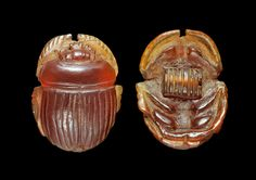 Ancient Egyptian carnelian scarab, dated to the Late Period, or 664-332 BCE.