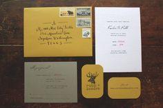 Rustic, outdoors-y, woodgrained wedding invitations by Sally of la Happy design.
