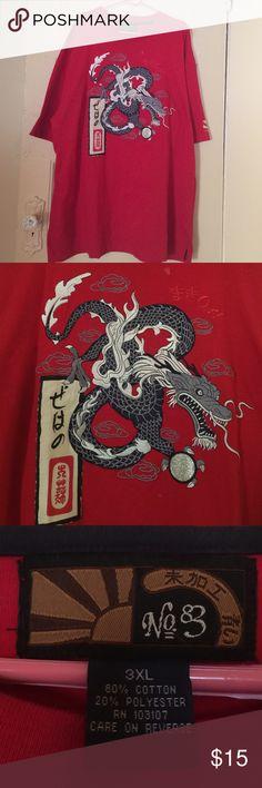 Men's Japanese Dragon Short-Sleeved T-Shirt Men's Japanese Dragon Short-Sleeved T-Shirt.  Rising Sun logo on left sleeve. No. 83 Tops Tees - Short Sleeve