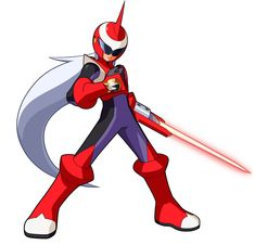 ProtoMan.EXE. Simple yet effective. Cel shading Manga, bright colours comic feel. Blade well done. B+W core illustration design layer, very good. Clean, uncluttered design.