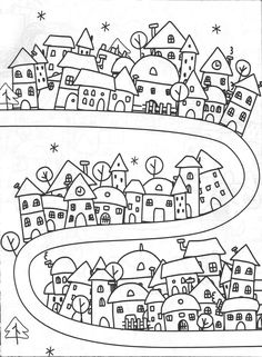Simple Life City of Dreams, dreams simple Colouring Pages, Adult Coloring Pages, Coloring Sheets, Coloring Books, Disney Art Drawings, Sketch Note, Doodles, House Quilts, House Drawing