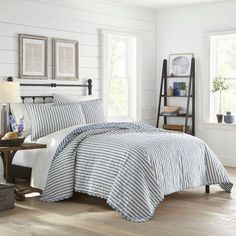 Willow Way Ticking Stripe Quilt Set - Stone Cottage : Target Navy Quilt, Striped Quilt, Twin Quilt, Striped Bedding, King Quilt Sets, Queen Quilt, Shabby Chic Material, King Pillows, Pillow Shams