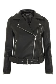 Black PU Leather Biker Jacket