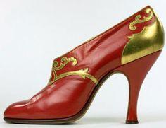 Art Déco - Chaussures - Cuir Rouge et Empiècements Dorés - Bernhard Gronberg - Suède - 1923