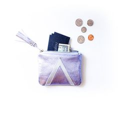 Holographic Leather Pouch, Metallic Silver Coin Purse, Art Deco Bag, Travel Wallet, Hologram Tassel, Kawaii Birthday Gift