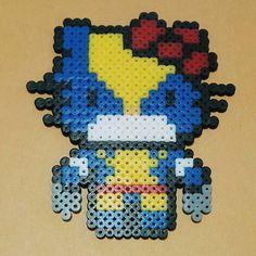 Wolverine Hello Kitty perler beads by herohada