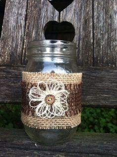 Burlap Mason Jar Wraps Outdoor Fall Wedding Centerpieces Set of 2 on Etsy, $9.50