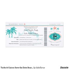 Turks & Caicos Save the Date Boarding Pass