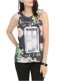 """Sleeveless top from <I>Doctor Who</I> with a floral sublimation print """"Waiting For A Madman With A Box"""" TARDIS design."""