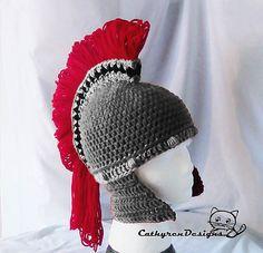 Diy knights helmet hat free crochet pattern king arthurs court greek spartan helmet pattern by cathy ren dt1010fo