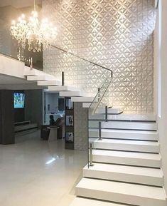 amazing modern stairs for entryway or foyer Stair Walls, Staircase Wall Decor, House Staircase, Interior Staircase, Stair Decor, Home Stairs Design, Interior Design Living Room, House Front Design, Modern House Design