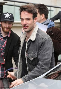 Fan friendly: Daredevil actor Charlie Cox stopped to interact with fans outside of his Lon...