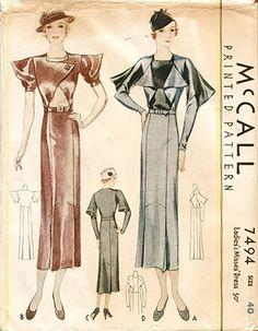 McCall 7494   ca. 1933 Ladies' & Misses' Dress
