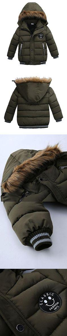 Kintaz Baby Girl Boy Winter Parka Down Coat Puffer Jacket Padded Overcoat With Fur Hood