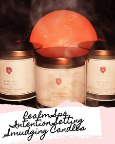 8oz Soy Handmade Intention Setting Smudging Candles with Herbs and Crystals #TIRealm #TIRBoutique #candles #intentions #crystals