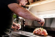 A glimpse of the preparation of the towering Parma ham, mozzarella and fresh tomato toast, easily enough for two. Wine Bars, Parma Ham, Geneva, Mozzarella, Toast, Fresh