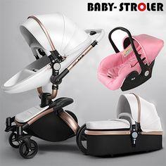 3 in 1 hohe qualität EU baby auto Aulon recounts kinderwagen leder zwei-wege-stoßdämpfer marke baby 2 in 1