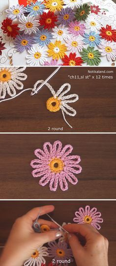 Crochet And Join Easy Flower MotifsLeaf and Lace Baby Set Free Knitting Pattern .Stricken: 100 Strickideen mit An Crochet Motifs, Crochet Flower Patterns, Crochet Doilies, Crochet Flowers, Crochet Stitches, Knitting Patterns, Crochet Daisy, Crochet Ideas, Daisy Flowers