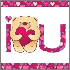 teddy bear with heart and i love you text on white background with hearts border vector     http://www.tpt-fonts4teachers.blogspot.com/2013/01/san-valentines-day-free-clip-arts.html