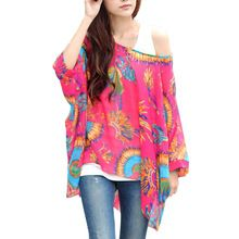 New Hot Summer Fashion Casual Women Blouses Chiffon Bohemia Print Loose Batwing Sleeve Tops Shirts,Blusa Feminina Women Tops