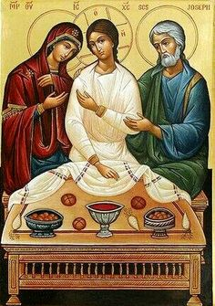 The Holy Family. It's Good to see Jesus not a small child, he did not start his ministry until around 30 years old. Religious Icons, Religious Art, Church Icon, Christian Artwork, Christ Is Risen, Religious Paintings, Byzantine Icons, Biblical Art, Early Christian