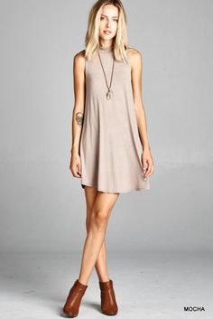 Sleeveless Mock Neck Tunic Dress - Mocha - Knitted Belle Boutique  - 1