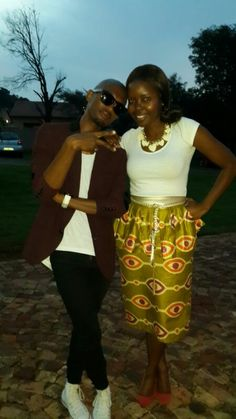 African printed peplum skirt.