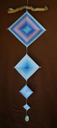 ojo de dios god s eye long bohemian driftwood wall hanging decor sea colors shells zen yoga mexican