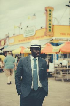 A dapper summer look for a day at Coney Island.