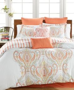 Jordanna Coral 8-Pc. Queen Comforter Set - love shades of orange and turquoise/aqua or blue together. Also like that it's reversible.