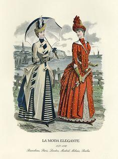 """La Moda Elegante"" | Museo del Romanticismo | Flickr Victorian Style Clothing, Victorian Fashion, Historical Costume, Historical Clothing, Sailor Outfits, Sailor Dress, 1870s Fashion, Picnic Dress, Victorian Gown"
