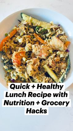 Quick Healthy Lunch, Healthy Eating Recipes, Quick Meals, Healthy Meals, Veggie Delight, Weight Loss Meal Plan, Shrimp Recipes, Gluten Free Recipes, Bowls