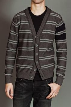 Rogers Varsity Cardigan Sweater (Charcoal Heather)