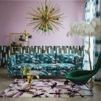 Living Etc green and pink living room front cover with brass sputnik light and jungle palm print sofa Home Wall Art, Wall Art Decor, Room Decor, Living Etc, My Living Room, Printed Sofa, Design Trends 2018, Diy Home, Pink Room