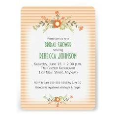 Peach and orange flowers accented with olive green flowers bridal shower invitation.
