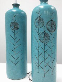 Vtg Pair Turquoise Pottery Lamps Mid Century Signed Italy Bitossi Raymor Era 50s