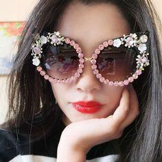 83b31c595c3 Women s Luxury Pink Crystal Floral Design Sunglasses Cat Eyes Vintage Retro  2018 Cat Sunglasses