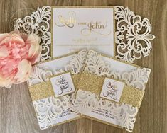 Glitter Gold Foil Laser Cut Wedding Invitation #weddinginvitation #goldinvitation #foilinvitation #goldfoil #goldfoilinvitation #lasercutinvitation