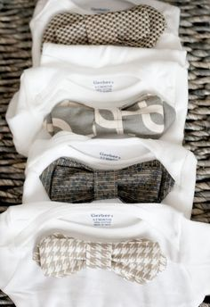 Next one of the ladies to have a boy is getting these from me for sure! DIY baby onesies. The bow ties velcro on and off for easy washing. So cute!