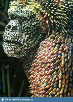 Gorilla made from colored pencils #Paper Art #Book Page Art
