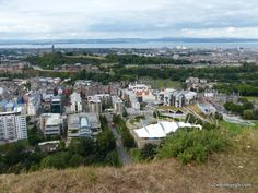 view over edinburgh towards Calton Hill from Salisbury Crags in Holyrood Park