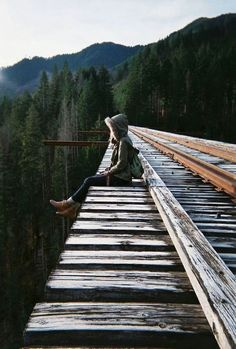 Image via We Heart It https://weheartit.com/entry/145244711 #alone #beautiful #forest #girl #photography #rail #tumblr