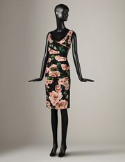 Gathered rose print dress with lace Women - Dresses Women on Dolce Online Store United States - Dolce & Gabbana Group
