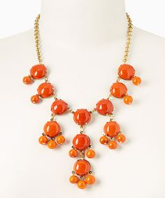 Look at this ZAD Orange Bubble Pendant Necklace on #zulily today!