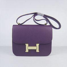 Hermes Constance Bag Gold Hardware Purple