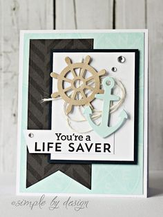 Use red/kraft/blue and charm dies. Emboss fish tail with chevron or diag folder.