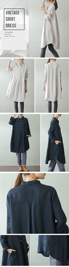 Vintage Lapel Pocket Shirt Dress For Women