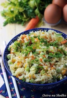 pilaf, pilaf with peas and carrots, diet pilaf, diet recipes . Fruit Recipes, Diet Recipes, Risotto, Spicy, Carrots, Good Food, Easy Meals, Food And Drink, Diet